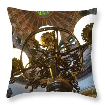 Ornate Lighting - Sprngfield Illinois Capitol Throw Pillow by Luther Fine Art