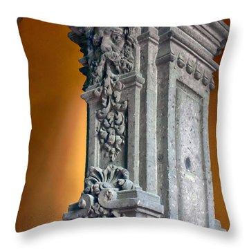 Ornate Mexican Stone Column Throw Pillow by Lynn Palmer