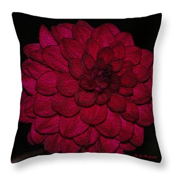 Ornate Red Dahlia Throw Pillow