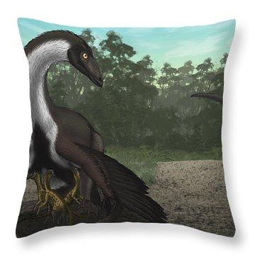Ornithomimus Mother Dinosaur Throw Pillow by Vitor Silva