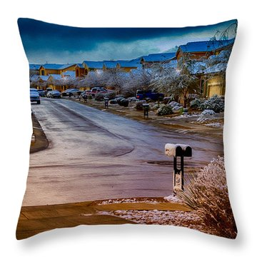 Oro Valley Winter No.54 Throw Pillow by Mark Myhaver