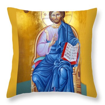 Orthodox Icon Of Jesus In Blue Throw Pillow by Munir Alawi