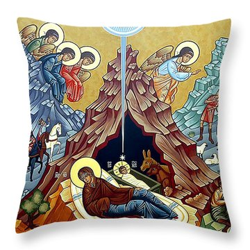 Orthodox Nativity Of Christ Throw Pillow by Munir Alawi