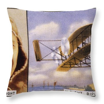 Orville Wright And Biplane Throw Pillow by Mary Evans Picture Library