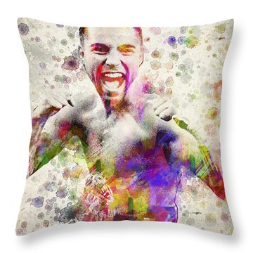 Oscar De La Hoya Throw Pillow by Aged Pixel