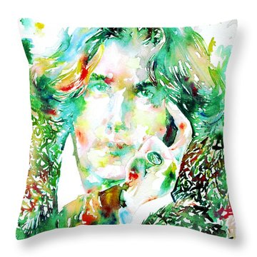 Oscar Wilde Watercolor Portrait.2 Throw Pillow by Fabrizio Cassetta