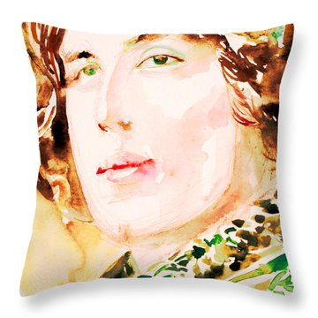 Oscar Wilde Watercolor Portrait.3 Throw Pillow by Fabrizio Cassetta