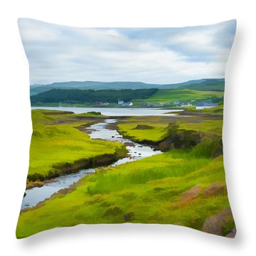 Osdale River Leading Into Loch Dunvegan In Scotland Throw Pillow