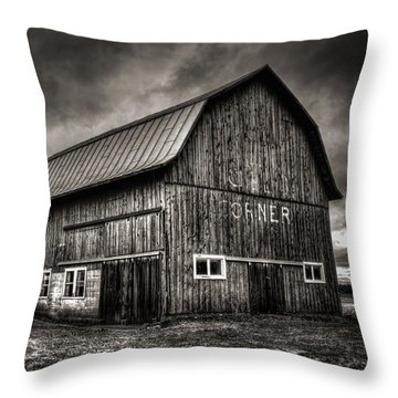 Oslo Corner In Black And White Throw Pillow