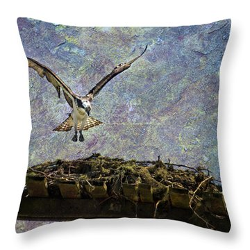 Throw Pillow featuring the photograph Osprey-coming Home by Belinda Greb