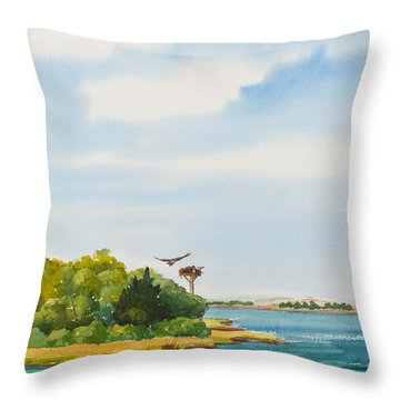Ospreys On The Vineyard Watercolor Painting Throw Pillow by Michelle Wiarda
