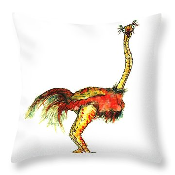 Ostrich Card No Wording Throw Pillow