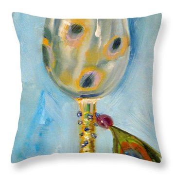 Ostrich Wine Glass Throw Pillow