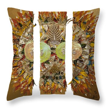 Throw Pillow featuring the tapestry - textile Osun Sun by Apanaki Temitayo M