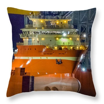 Osv In Port Fourchon Drydock Throw Pillow