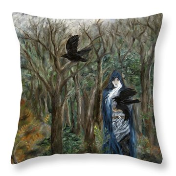 The Raven God Throw Pillow