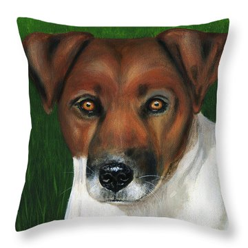 Otis Jack Russell Terrier Throw Pillow by Michelle Wrighton
