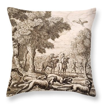 Otter Hunting By A River, Engraved Throw Pillow by Francis Barlow