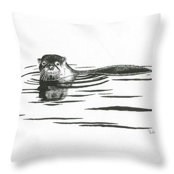Otter In The Water Throw Pillow