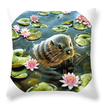 Otter In Water Lilies Throw Pillow