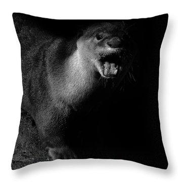 Otter Wars Throw Pillow by Martin Newman