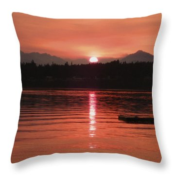 Our Beach At Sunset  Throw Pillow
