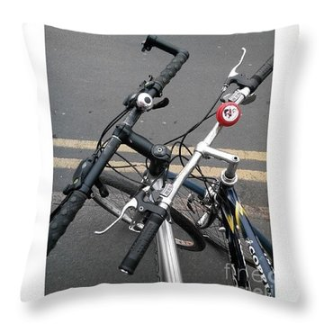 Our Bikes #cycling #bicycle Throw Pillow