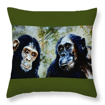 Throw Pillow featuring the painting Our Closest Relatives by Hartmut Jager