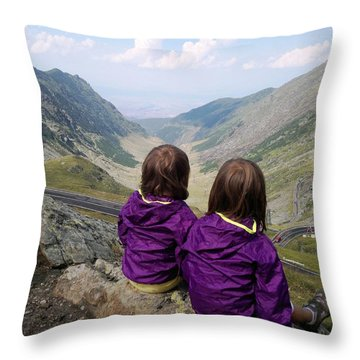 Our Daughters Admiring The View Throw Pillow