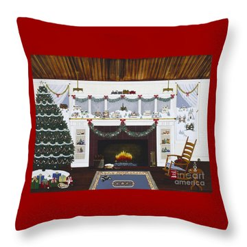 Our First Holiday Throw Pillow by Jennifer Lake