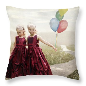 Our Hearts Say We're Friends Throw Pillow by Linda Lees