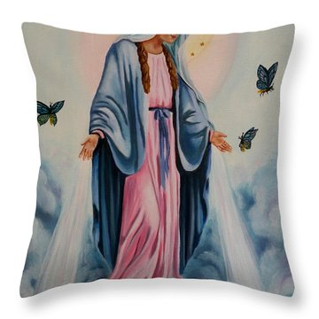 Our Lady Of Grace I Throw Pillow