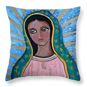 Our Lady Of Guadalupe Folk Art Throw Pillow