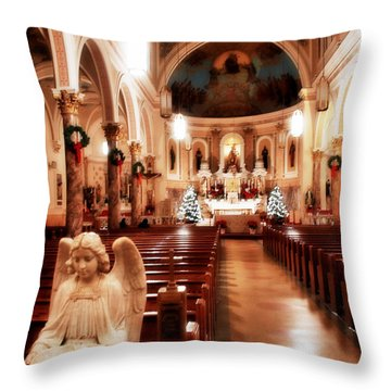 Throw Pillow featuring the photograph Our Lady Of Mount Carmel Church At Christmas by Aurelio Zucco