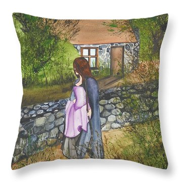Throw Pillow featuring the painting Our Lady Of Salem by Virginia Coyle
