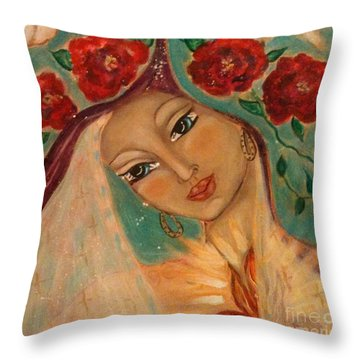 Our Lady Of The Sacred Heart Throw Pillow by Maya Telford