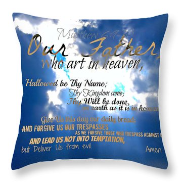 Our Lords Prayer Throw Pillow by Sharon Soberon