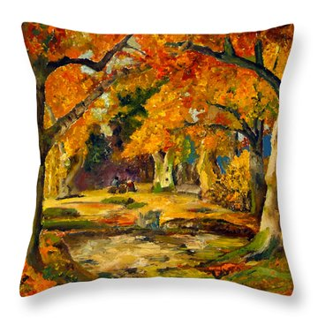 Throw Pillow featuring the painting Our Place In The Woods by Mary Ellen Anderson