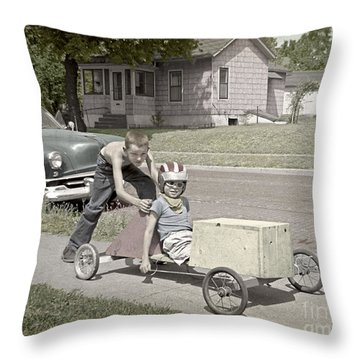 Our Racing Cart Throw Pillow