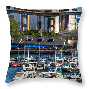 Out At The Harbor V3 Throw Pillow