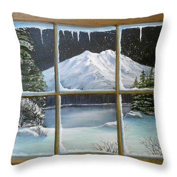 Out My Window-bright Winter's Night Throw Pillow by Sheri Keith