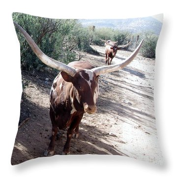Out Of Africa  Long Horns Throw Pillow