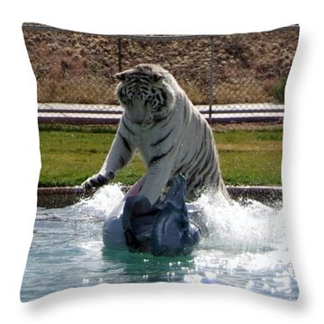 Out Of Africa Tiger Splash 1 Throw Pillow