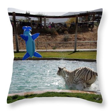Out Of Africa Tiger Splash 3 Throw Pillow