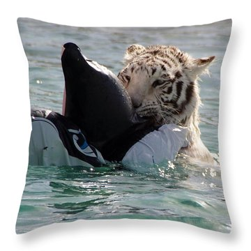 Out Of Africa Tiger Splash 4 Throw Pillow
