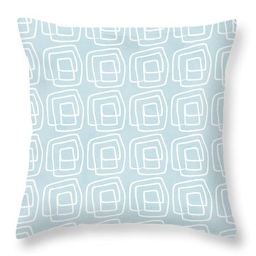 Out Of The Box Blue And White Pattern Throw Pillow by Linda Woods