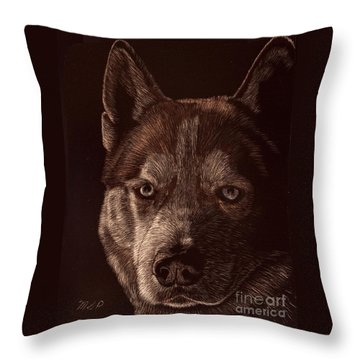 Out Of The Darkness Portrait Of A Husky Throw Pillow