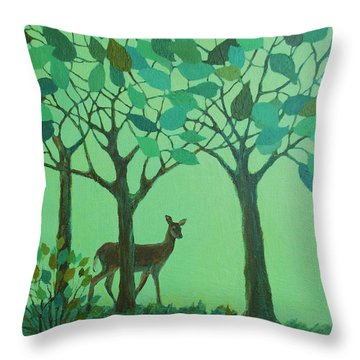 Out Of The Forest Throw Pillow by Mary Wolf