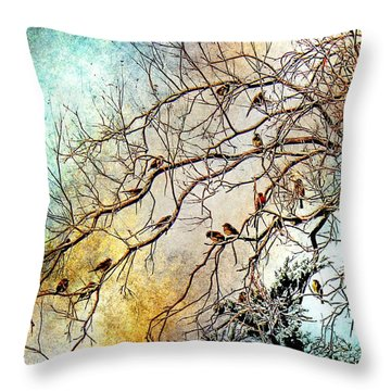 Out On A Limb In Jewel Tones Throw Pillow by Barbara Chichester