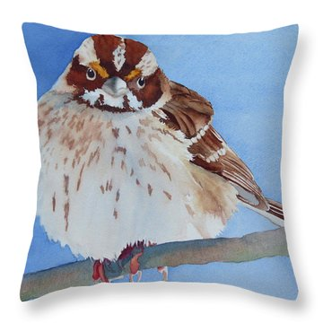 Throw Pillow featuring the painting Out On A Limb by Judy Mercer
